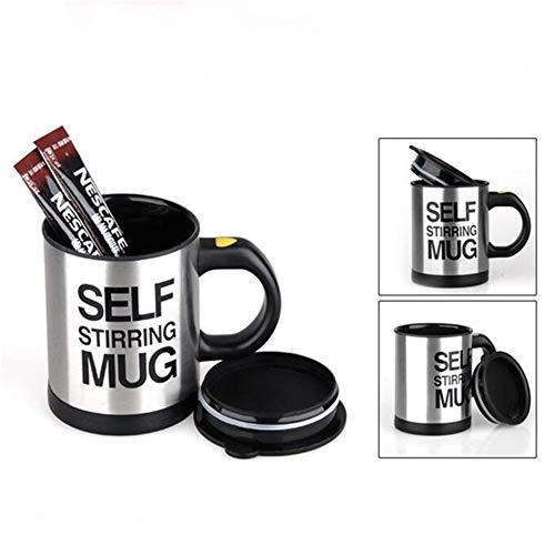 Reutilizable Taza de café Tazas de 400 ml Taza eléctrica automática auto perezosa Taza de café Taza de mezcla de leche y café Taza de mezcla de jugo de acero inoxidable inteligente ( Color : Black )