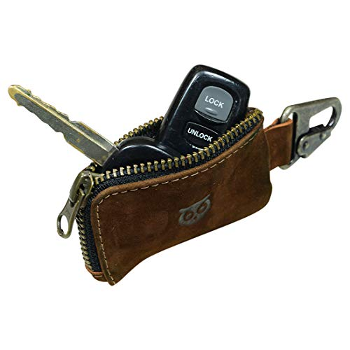 Hide & Drink, Rustic Leather Car Key Holder, Headphone & Charging Cables, Memory Cards, Flash Drives, Lighters, Cash Zipper Case with Clasp, Handmade Includes 101 Year Warranty :: Swayze Suede