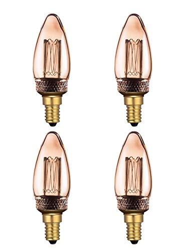 Candle Bulbs Non-Dimmable 2W Harwez E14 Screw C35 Small Edison 1800K Warm White Light for Retro Antique Style Decorate-4 Pack