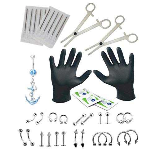 LOVOICE 41Pcs Body Piercing Kit Stainless Steel Professional Ear Nose Tools Tweezer Needles Set With Stud Ring