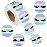 500 Pieces Eyelash Stickers Business Lash Labels Stickers Round Shape Adhesive Holographic Stickers Rainbow Stickers for Business Shop Wrapping Supplies