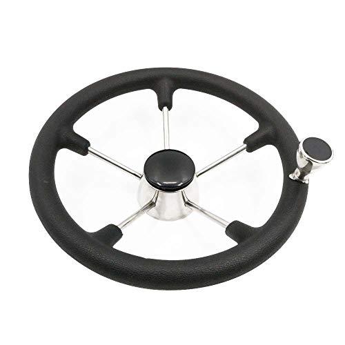 Stainless Marine Wheel with Black Foam Yaegarden 5 Spoke Boat Steering Wheel