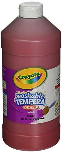 Crayola Washable Tempera Paint, Red Kids Paint, 32 Oz Squeeze Bottle