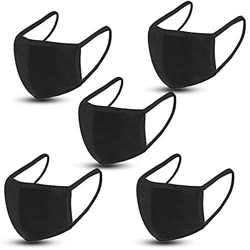5 Pack Fashion Protective, Unisex Black Dust Cotton, Reusable Cotton Fabric