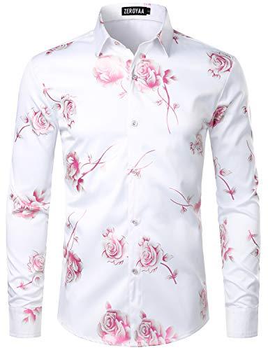 ZEROYAA Mens Hipster 3D Rose Deign Slim Fit Long Sleeve Button Up Dress Shirts ZZCL22 White Pink Medium