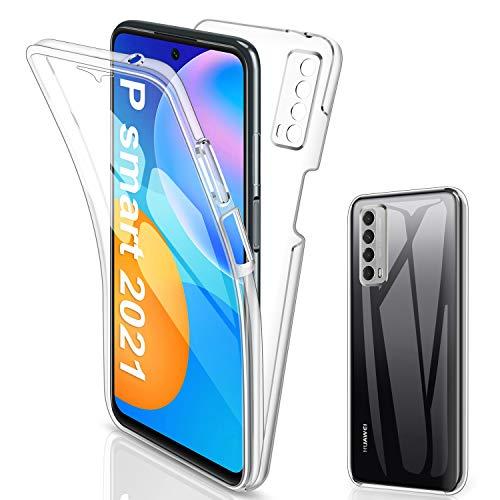 SOGUDE Cover per Huawei P Smart 2021, Custodia per Huawei P Smart 2021 Transparent 360° Full Body Protezione Silicone TPU Premium Resistente Case Cover per Huawei P Smart 2021