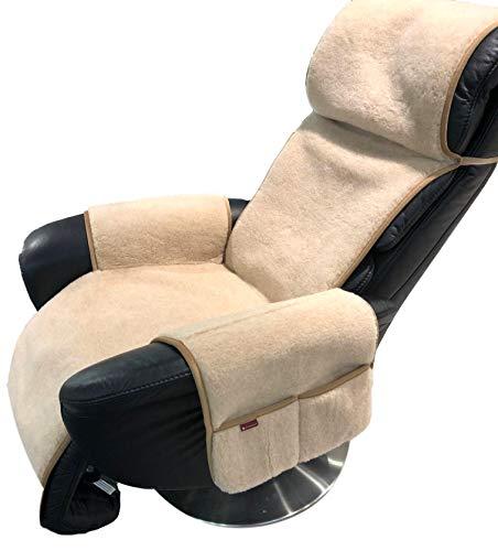 Alpenwolle Sesselschoner Relax 180cm Alpaca mit Taschen Überwurf Sitzauflage 100% Wolle