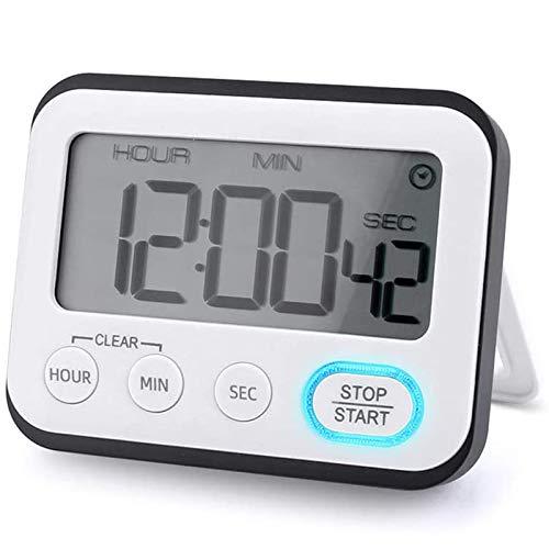 Katigan Temporizador Digital Cocina LCD, Alarma y Reloj, Cuenta AtráS Respaldo MagnéTico Soporte Libre, Alarma Alta Reloj Digital Temporizador de Alarma para Cocinar, Aprender, Hacer Yoga