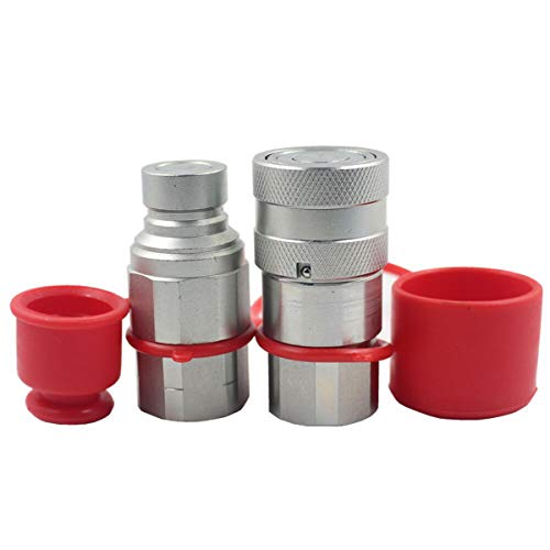 LX-FF-04 1/2' Skid Steer Bobcat Flat Face Hydraulic Quick Disconnect Coupling NPT1/2 Set Quick Connect Couplers with Red Dust Caps