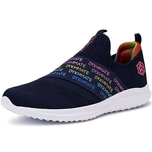 DYKHMATE Zapatillas de Running Mujer Zapatillas Deportivas Ligero Transpirables Malla Sneakers Fitness Atlético Slip On Rainbow Caminar Zapatos (Polvo Azul,37.5 EU)