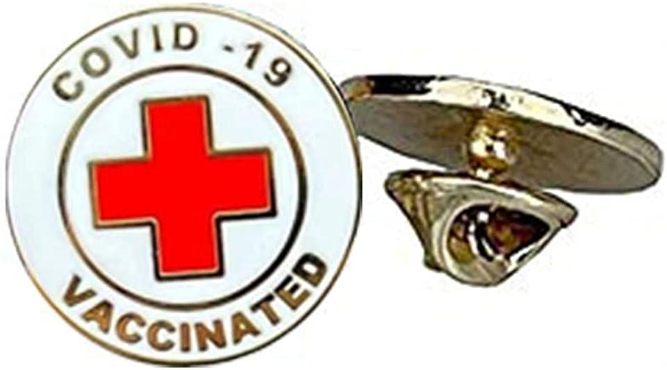 Vaccinated COVID-19 Coronavirus enamel Lapel Pin - Covid19 Bage gold plated pin - Brooch Vaccinated memorial for bag shirt (F)