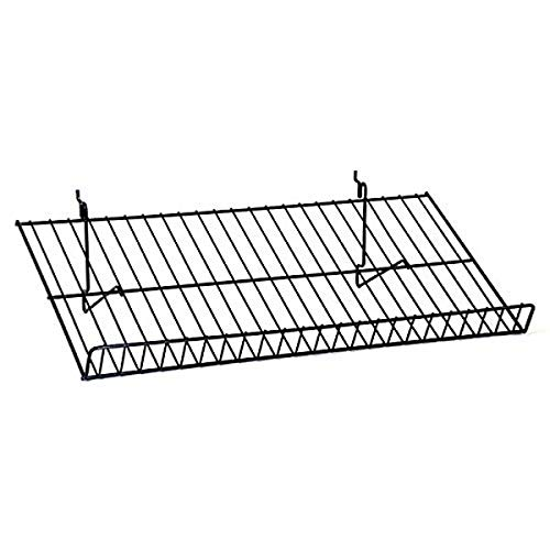 KC Store Fixtures A03060 Sloping Shelf Fits Slatwall, Grid, Pegboard, 23-1/2' W x 12' D, Black (Pack of 6)