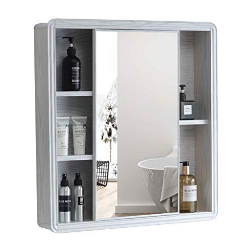 Armoire de Toilette en Aluminium Armoire à Pharmacie à Porte coulissante Miroir Mural avec étagère Miroir de Maquillage Fille (Color : Blanc, Size : 60 * 70cm)