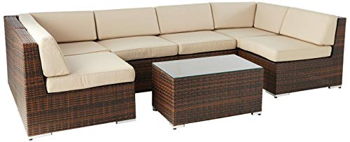 Ohana 7-Piece Outdoor Patio Furniture Sectional Conversation Set, Mixed Brown Wicker with Sunbrella Antique Beige Cushions - No Assembly with Free Patio Cover