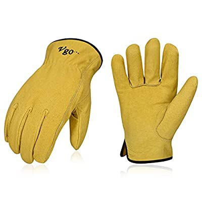 Vgo 3Pairs Unlined Top Grain Leather Work and Driver Gloves (Gold,PA9501)