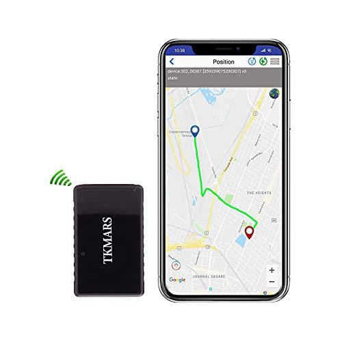 Hangang Mini GPS Tracker, Tkmars GPS para Coche Localizador en Tiempo Real Anti Loss espía con App Gratuita GPS Niños 1000 mAh Long Standby 15 Días (tk902)