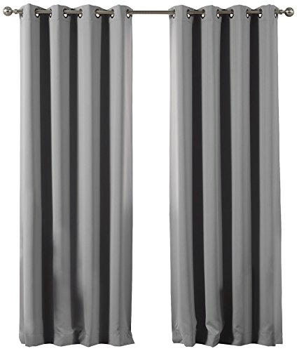 """Best Home Fashion Blackout Curtain Panels - Premium Thermal Insulated Window Treatment Blackout Drapes for Bedroom - Antique Bronze Grommet Top (52"""" W x 84"""" L, Grey)"""