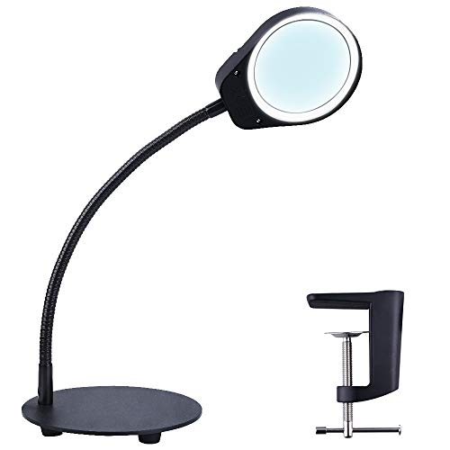 Psiven Dimmable Magnifying Glass with Light - Daylight Bright LED Magnifying Desk Lamp, Lighted Magnifier with Stand & Clamp - for Reading, Close Work, Task, Workbench, Crafts, Hobbies, Sewing - Black