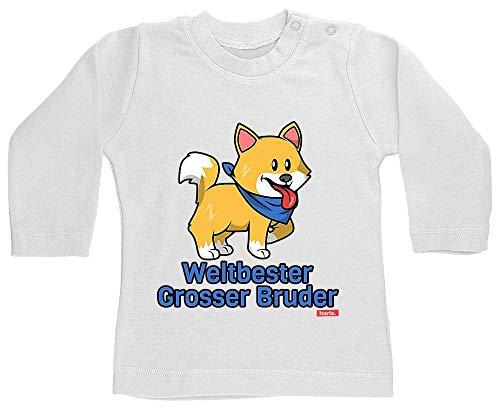 HARIZ Camiseta de manga larga para bebé con el mejor hermano del mundo, para cumpleaños, hermano o bebé, con tarjeta de regalo, diente de leche, color blanco, 18-24 meses