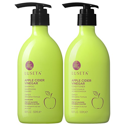 Luseta Apple Cider Vinegar Shampoo and Conditioner for Hair Loss,Clarifying, Dandruff - Sulfate Free, for Damaged and Oily Hair Types, Men and Women - 2 x 16.9oz