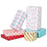 STOBOK Papel para Envolver Regalos Encantador Rollo de Papel para Envolver Envoltorio de Regalo para Boda Cumpleaños Baby Shower 6 Hojas