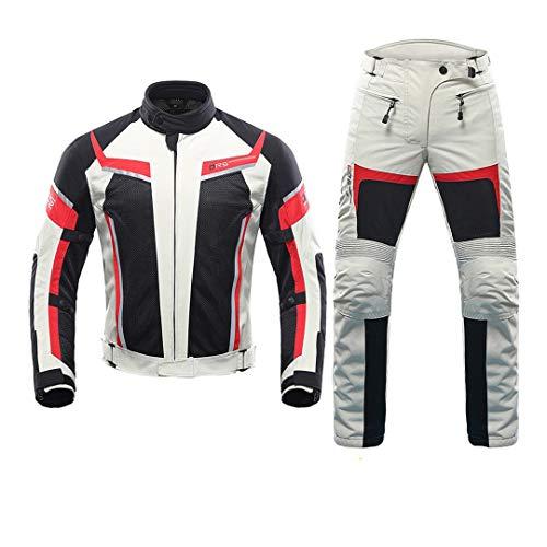 Hombre Chaqueta de Montar a Caballo + Pantalones de Motocicleta Traje de Malla Transpirable Chaqueta Moto Pantalones Traje 185-Grey Suit XXL