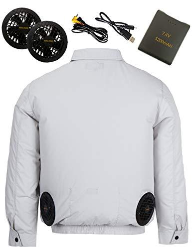 空調作業服 空調 服 作業服 長袖 空調ふく服 ワークマン 夏 ワークウェア ファン服 綿 バッテリー ファン セット (グレー 3XL)