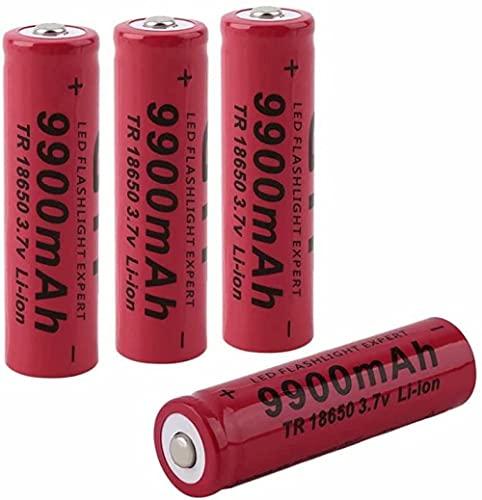Pilas 18650 Pilas Recargable 3.7 V 9900mmAh de Iones de Litio de Alta Capacidad Baterías 1800 Ciclos de Larga Duración con Botón Superior Pilas para Linterna-4_Pcs