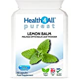 Lemon Balm 450mg 60 Capsules (V) Purest- no additives, Vegan. Melissa for Anxiety, Stress and Sleep. Made by Health4All
