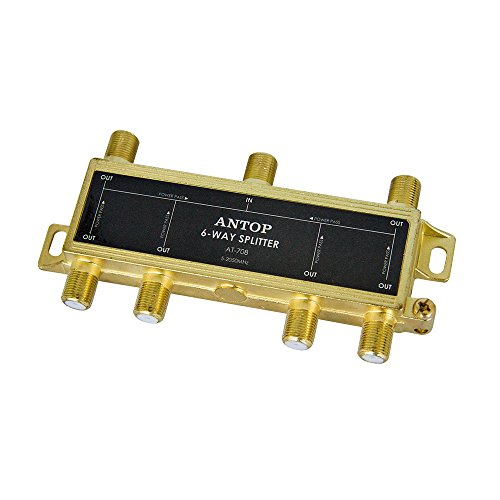 ANTOP 6-Way Coaxial Cable Splitter, 2GHz- 5-2050MHz Range, Works with HD TV, Cable, Amplifiers, Amplified Antennas - All Port Power DC Power Passing, Gold Plated and Corrosion Resistant