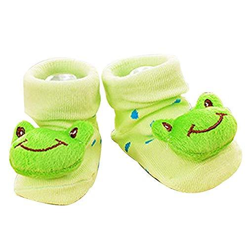 Joyfeel Buy 1 par de calcetines de bebé DIY dibujos animados rana invierno caliente calcetines para el uso del bebé peinado algodón verde