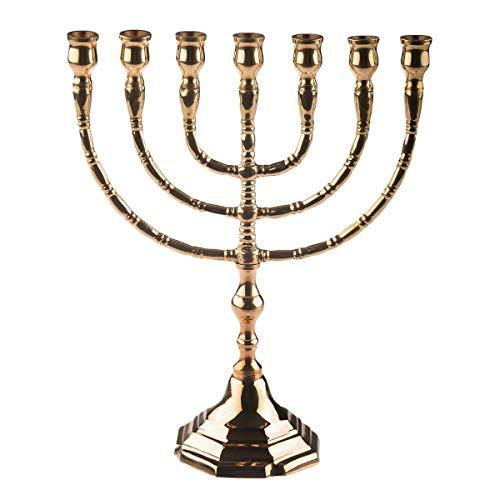 Junker Kirchenbedarf Kerzenständer Menora, siebenarmiger Leuchter aus Messing, poliert & schutzlackiert, Kerzenleuchter für Ø 13mm Kerzen, Höhe 25cm, Breite 20cm