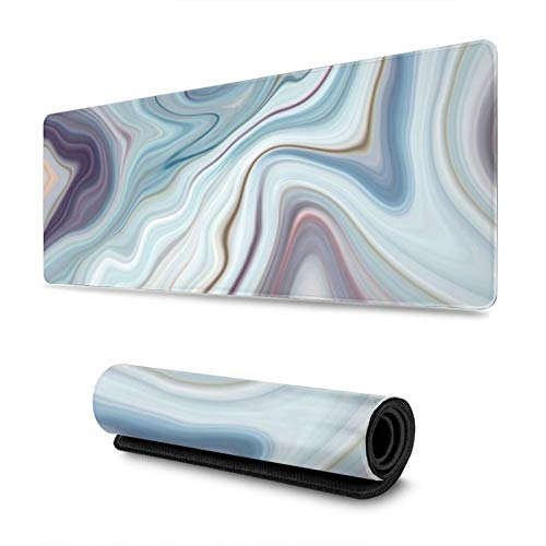 Black Granite Marble White Gray Pattern Abstract Blue Gaming Mouse Pad, Long Extended XL Mousepad Desk Pad, Large Non Slip Rubber Mice Pads Stitched Edges, 31.5'' X 11.8''