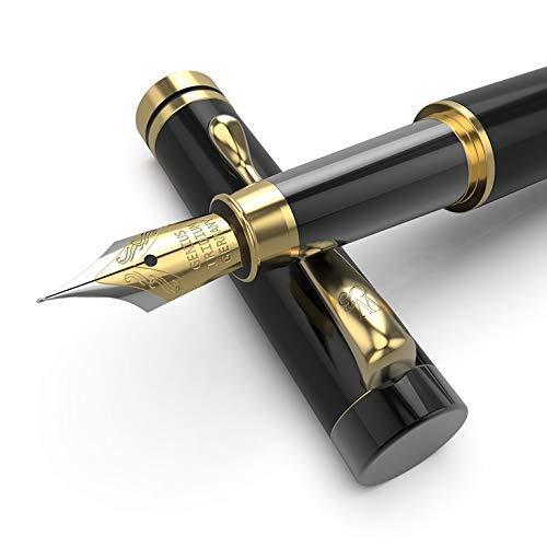 Wordsworth & Black Strumenti di scrittura dal design classico Set penne stilografiche executive   Penna regalo aziendale   Calligrafia   Convertitore di ricarica di inchiostro (Legno Nero)