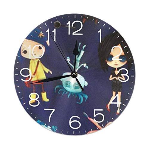 Coraline - Reloj de pared redondo de PVC de 25,4 cm, fácil de leer, funciona con pilas, para dormitorio, sala de estar, cocina, escuela, decoración de oficina