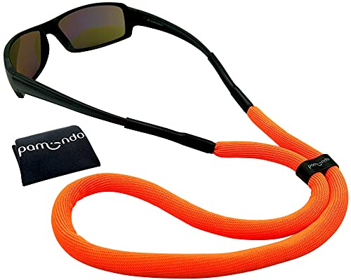 pamindo Brillenband schwimmfähig für Wassersport & Freizeit - Sportbrillenband für Damen, Herren & Kinder - schwimmend & sicherer Halt in signal-orange