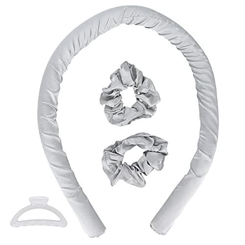Rizador de pelo de seda profesional, herramienta para rizar el pelo para dormir de bricolaje, rizador sin calor, rizador de pelo sin calor diadema cinta para rizar de seda(gris)