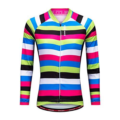 ZMMHW Manga Larga Ciclismo Jersey Mujeres Transpirable MTB Jersey Reflectante Ciclismo de...
