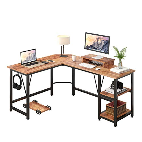 TREETALK Computer desk, L-shaped Corner Desk with 2-Layer Storage,Large PC Laptop Table with Monitor Stand and CPU Stand,Gaming Writing Desk for Home Office (Walnut)