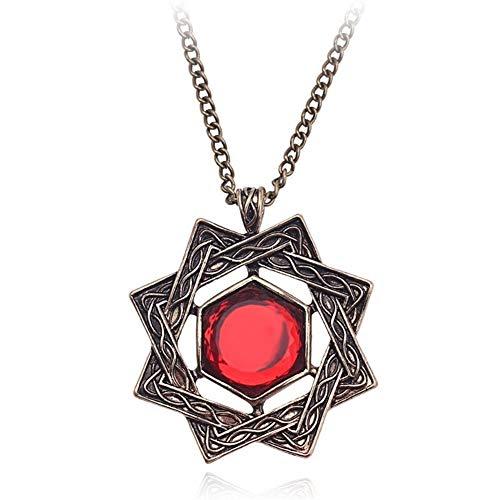FKJSP Joyería for Hombre de Uso del Cristal Rojo Oscuro Colgantes de la Vendimia del Collar (Color : 50cm, Size : 1)