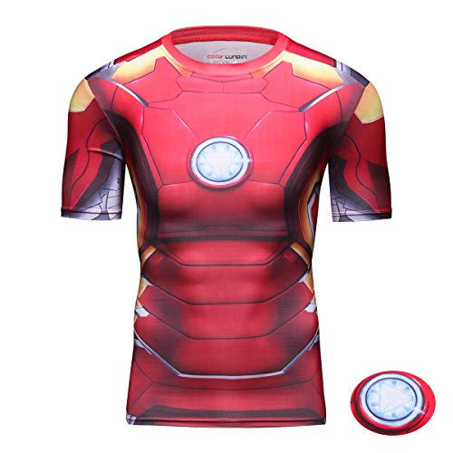 Born2Ride/™ Superhero Fancy Dress//Gym//Cycling Long sleeved Compression Baselayer T-Shirt Tops extra large, New Ironman
