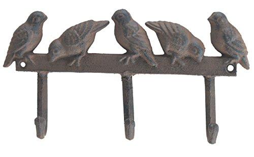 Cast Iron Wall Hook Rack Birds On Fence 3 Hooks Coat Towel Kitchen Utensils 10 Wide
