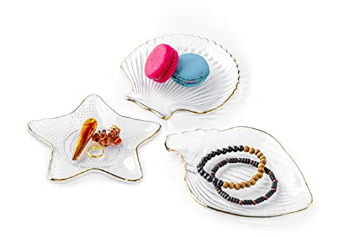 NaCraftTH Set 3 Conch Starfish Seashell Glass Plates Dish Gold Rimmed Ocean Decor Jewelry Tray Fruit Plate Dessert Plate Woman Gifts