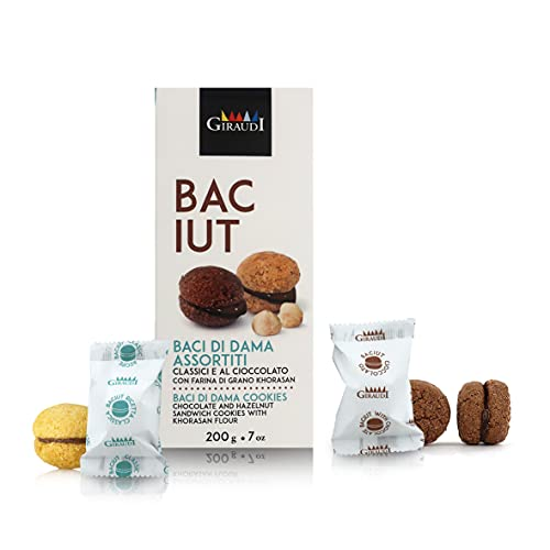 Baci di Dama, Galletas Italianas con Harina de Trigo Khorasan, 2 Sabores: Clásico y Cacao, Caja de 200 Gramos