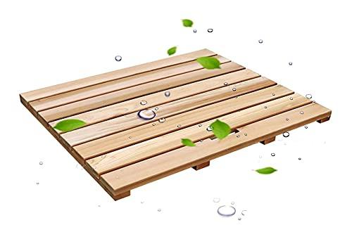 Baño de la ducha de madera natural Matilla de baño antideslizante a prueba de agua Pastillas de pie, baño de ducha Sauna Bath Pads, tamaño personalizable (color: a, Tamaño: 90x60cm) tarima de madera p