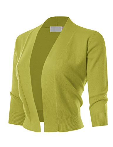 MAYSIX APPAREL 3/4 Sleeve Solid Open Bolero Cropped Cardigan for Women Lime L