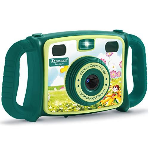 DROGRACE Kids Fotocamera con Zoom 4x, Flash Lights, 4-Level Volume e Manici in ABS per Bambine, Compleanno