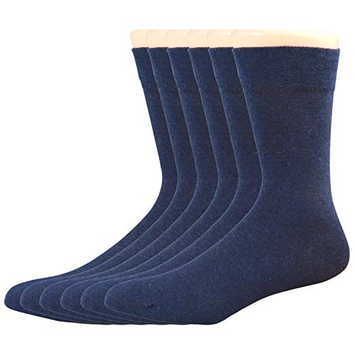 Mens Dress Lightweight Socks, 98% Cotton Comfort Cool Vent Business Soft Casual Crew Thin Socks 6 Pack Blue