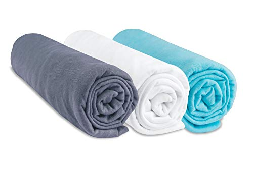 Juego de 3 sábanas bajeras para bebé de algodón, 70 x 140 cm, Color Gris, Blanco y Turquesa (Marca Easy Dort)