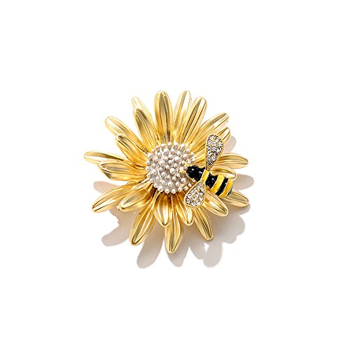 fablcrew Party Brosche Anzug Pullover Pin Daisy Bee Form Corsage Strass Faux Pearl Badge 3,8 * 3,8 cm Gelb